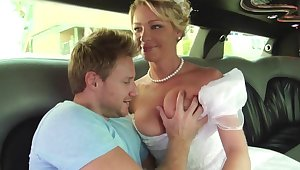 Bride in pallid beautiful dress gets fucked
