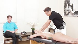 Stunning white-headed milf Carmen Caliente is fucked by masseur in front of husband