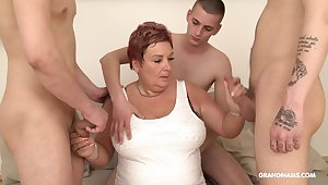 Wealthy ancient woman pays be advisable for gangbang with three young guys