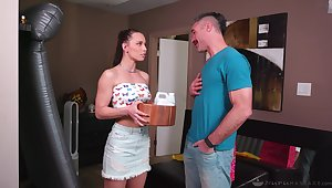 Masseuse stepdaughter Aidra Fox gives a nuru massage to her birthday daddy